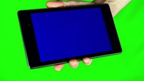 Using Tablet Pc With Blue Screen stock video