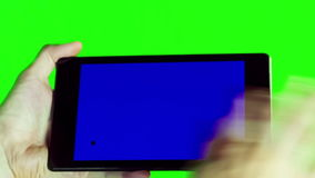 Using Tablet Pc With Blue Screen stock video footage