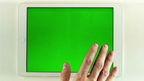 Using Tablet Pc With Green Screen stock video