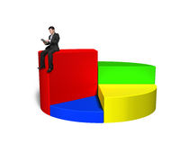 Using tablet and sitting on top of 3d pie chart Royalty Free Stock Photo
