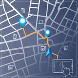 Using tablet for street map navigation vector. Background Stock Image