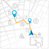 Using tablet for street map navigation vector. Background Stock Images