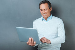 Using technology for great advantage. Stock Image