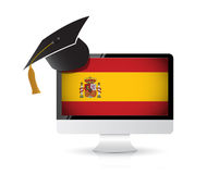 Using technology to learn the spanish language. Royalty Free Stock Photography