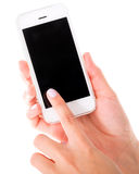 Using a touch screen phone Stock Photo