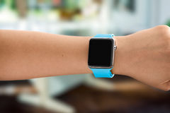 Using Touch Screen Smart Watch Stock Images