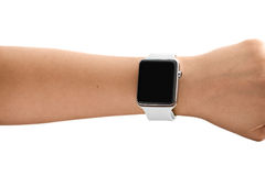 Using Touch Screen Smart Watch Royalty Free Stock Photos
