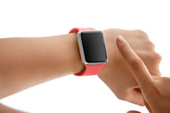 Using Touch Screen Smart Watch Stock Image