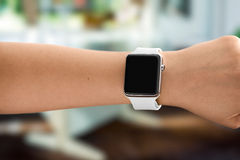 Using Touch Screen Smart Watch Stock Photos