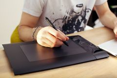 Using Touchpad Graphics Tablet Stock Images