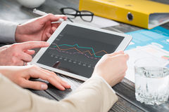 Using touchpad at meeting. Business concepts. Stock Image