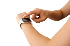Using Touchscreen Smart Watch Isolated Stock Photo