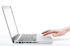 Using the trackpad on a laptop Royalty Free Stock Photo
