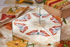Using two connected mirrors to design a patchwork pattern Royalty Free Stock Photo