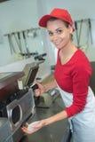 Using vacuum sealer machine Stock Image