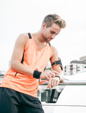 Using wearable fitness gear Royalty Free Stock Photo