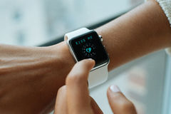 Using White Apple Watch Stock Photography