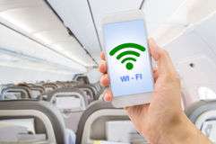 Using the wifi at my flight Royalty Free Stock Photography