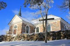 Uskela kyrka i Salo, Finland Arkivfoto