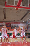 Uskov Victor. SAMARA, RUSSIA - MAY 12: Uskov Victor of BC Spartak-Primorje scored a goal from the free throw line in a game against BC Krasnye Krylia on May 12 Stock Images