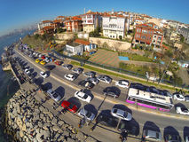 Uskudar, Istanbul. Residential housing community along Bosporus at Salacak. Aerial view of many luxury houses and busy street Stock Images