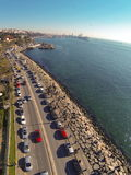 Uskudar Sahil Yolu. Aerial view of Harem Street in Istanbul. Showing many cars and coastal street along Bosphorus Sea Royalty Free Stock Images