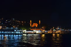 Uskudar yeni mosque night shot. Istanbul turkey mosque Royalty Free Stock Photos