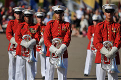USMC marching Band. Soldiers of the United States Marine Corps Marching Band. Image taken during a ceremony at MCRD, San Diego on March 8th, 2008 Royalty Free Stock Photography