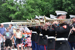 USMC Marine Forces Reserve Band Playing Trombones Royalty Free Stock Image