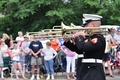 USMC Marine Forces Reserve Band Playing Trombones Stock Photo