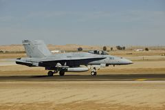 USMC McDonnell Douglas F/A-18D Hornet arriving at NAF El Centro for training 2017 Royalty Free Stock Photography