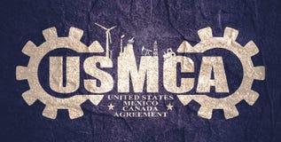 USMCA - Förenta staternaMexico Kanada överenskommelse royaltyfria bilder