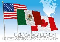 USMCA-Overeenkomst 2018 vlaggen, Verenigde Staten, Mexico, Canada met kaart stock illustratie