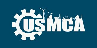 USMCA - United States Mexico Canada Agreement. Decorated USMCA letters. Heavy industry and business concept. Connected lines with dots stock illustration