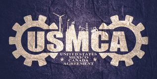 USMCA - United States Mexico Canada Agreement. Decorated USMCA letters. Heavy industry and business concept royalty free stock images