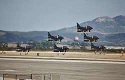USN Blue Angels performing at NAS Miramar on August 20 , 1983 royalty free stock photography