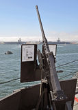 A USN .50 Caliber Heavy Machinegun. San Diego, CA - September 19: A USN .50 Caliber Heavy Machinegun on display aboard a U.S. Navy Warship during Fleet Week on royalty free stock photography