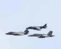 USN F-35、猎兔犬和FA-18超级大黄蜂 库存照片