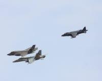USN F-35, engelsk harhund och toppen bålgeting FA-18 Arkivbilder