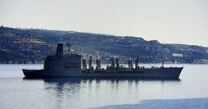 USNS Laramie T-AO-203 at anchor. Chania, Crete - 5th july 2018:USNS Laramie T-AO-203 at anchor royalty free stock photos