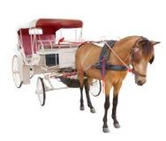 Uso bianco FO del fondo isolato cabina del trasporto di fiaba del cavallo Fotografia Stock Libera da Diritti