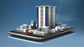 Uso conmovedor de las propiedades inmobiliarias, ciudad constructiva construida en un teléfono elegante, móvil, cojín elegante (a ilustración del vector