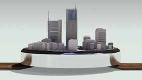 Uso conmovedor de las propiedades inmobiliarias, edificio construido en un reloj elegante 2 (alfa incluida) stock de ilustración