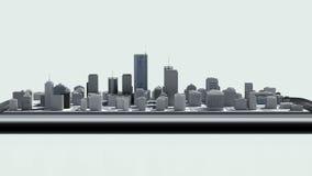 Uso conmovedor de las propiedades inmobiliarias, edificio construido en un teléfono elegante 2 ilustración del vector