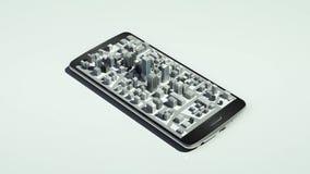 Uso conmovedor de las propiedades inmobiliarias, edificio construido en un teléfono elegante 1 libre illustration