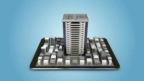 Uso conmovedor de las propiedades inmobiliarias, edificio construido en un teléfono elegante, móvil, cojín elegante (alfa incluid libre illustration
