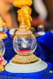 Uso de cristal de oro tailandés del ataúd del vintage hermoso para el cer religioso Imagen de archivo