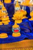Uso de cristal de oro tailandés del ataúd del vintage hermoso para el cer religioso Imagen de archivo libre de regalías