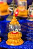 Uso de cristal de oro tailandés del ataúd del vintage hermoso para el cer religioso Foto de archivo libre de regalías