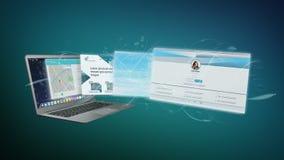 Uso de la página web que sale una representación de la pantalla 3d del ordenador portátil ilustración del vector
